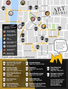 Beer OClock ArtCrawl Map